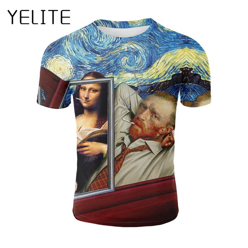 YELITE Mais Novo Arte Pintura A Óleo 3d Impresso Homens T-shirt Homens Summmer Tops Tees Van Gogh Arte Mona lisa Pintura Criativa roupas