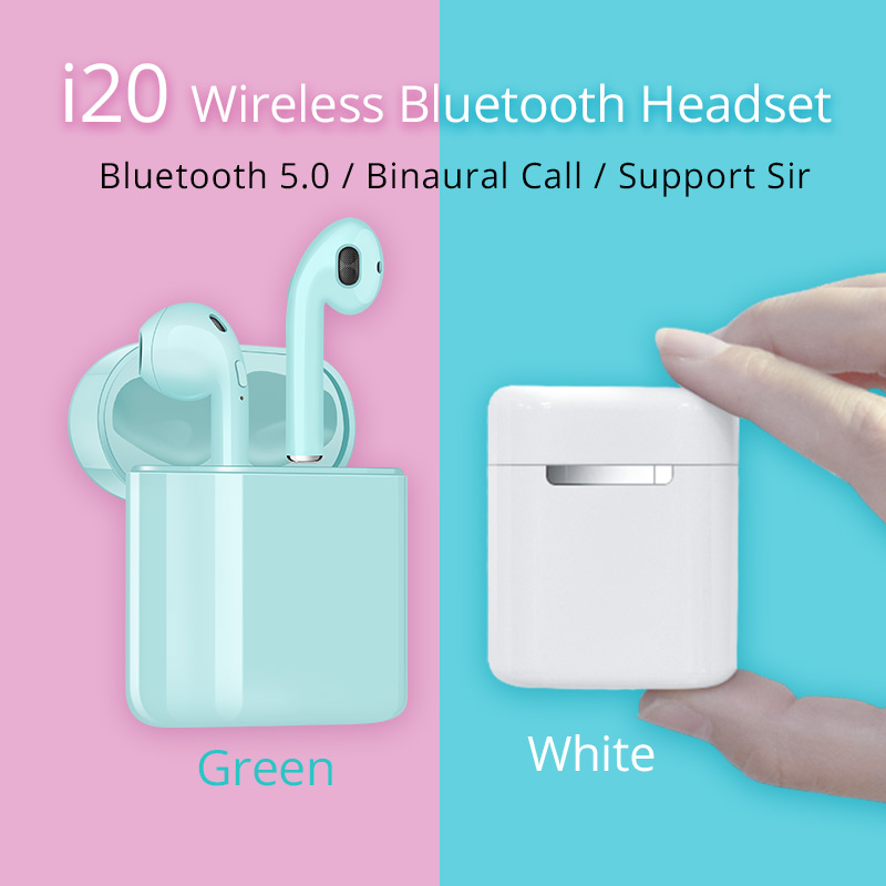 i20 <font><b>TWS</b></font> wireless headset Bluetooth 5.0 earphones mini stereo i7s earbuds <font><b>2019</b></font> new pk i11 i9s i13 i16 <font><b>i18</b></font> for iphone all phones image