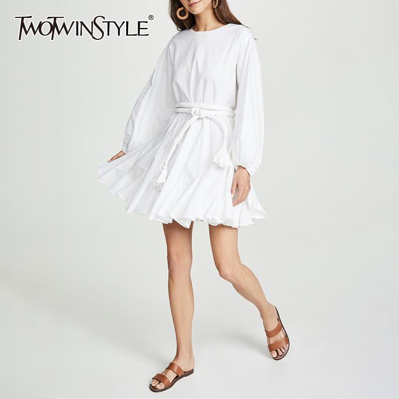 TWOTWINSTYLE White Dresses Women O Neck Lantern Sleeve High Waist  Bandage Mini Pleated Dresses Female 2020 Casual FashionDresses   -