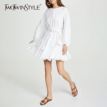 TWOTWINSTYLE White Dresses Women O Neck Lantern Sleeve High Waist Bandage Mini Pleated Dresses Female 2020 Casual Fashion