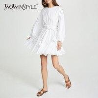 TWOTWINSTYLE White Dresses Women O Neck Lantern Sleeve High Waist Bandage Mini Pleated Dresses Female 2019 Casual Fashion