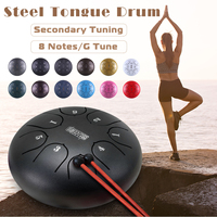 SENRHY 8 Tone Hand Drum 6 inch G Tune Steel Tongue Drum Tank Hang Drum with Drumsticks Carrying Bag Percussion Instruments