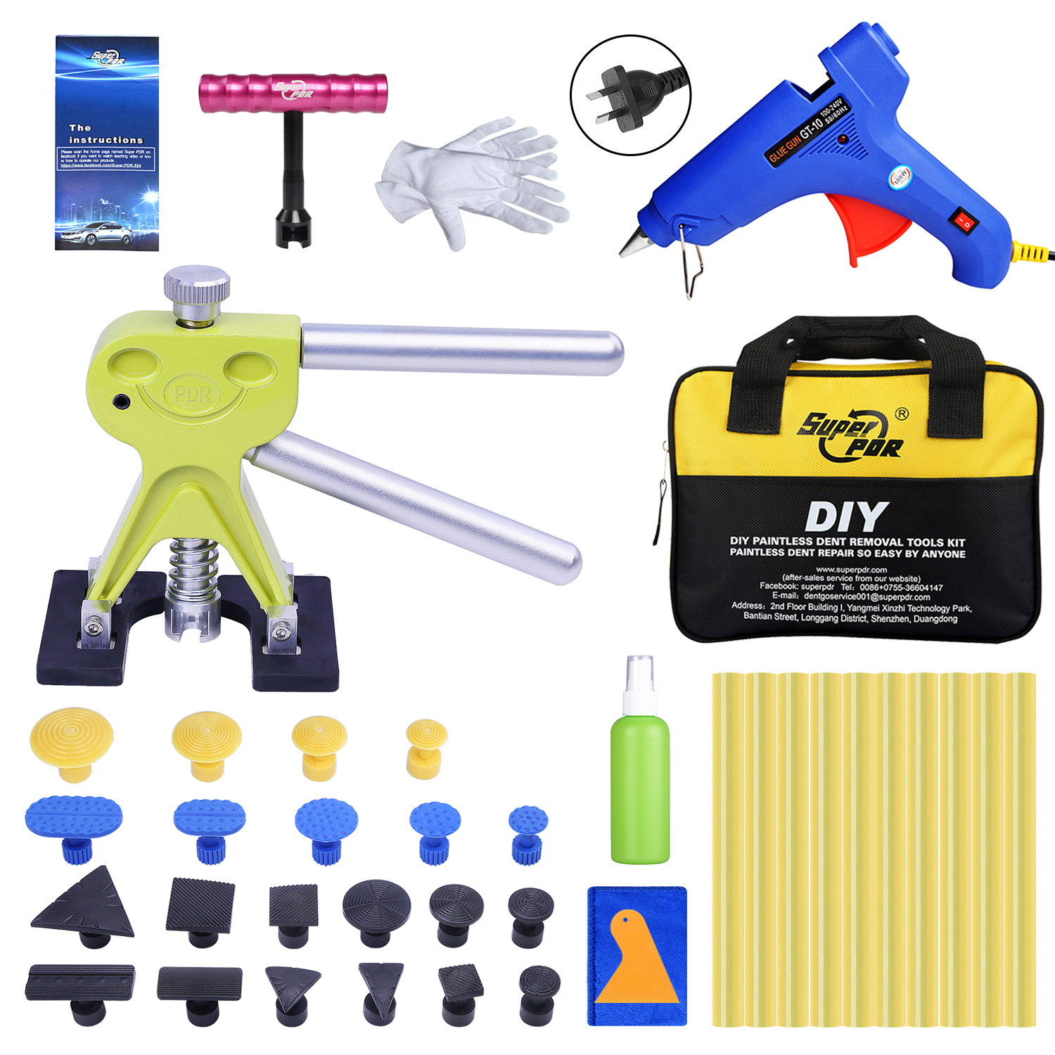 Super PDR AU Plug Hot Melt Glue Gun For Hot Adhesive Glue Stick Auto Dent Puller Suction Cup Glue Tab Paintless Dent Removal Kit super pdr tools dent removal kit for car dent puller suction cup glue sticks for hot melt glue gun line board pump wedge air bag