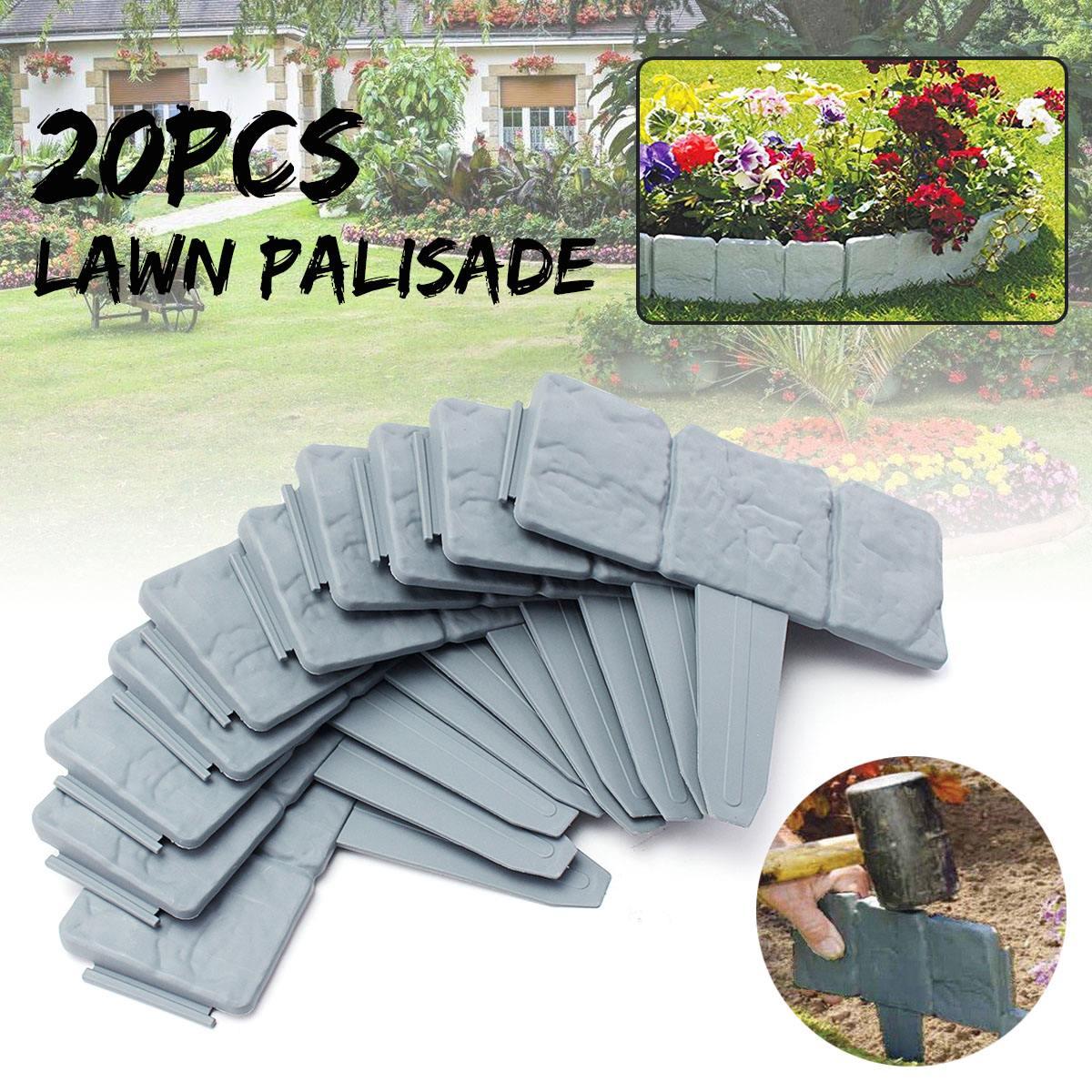 20Pcs Grey Garden Fence Edging Cobbled Stone Effect Plastic Lawn Edging Plant Border Decorations Flower Bed Border