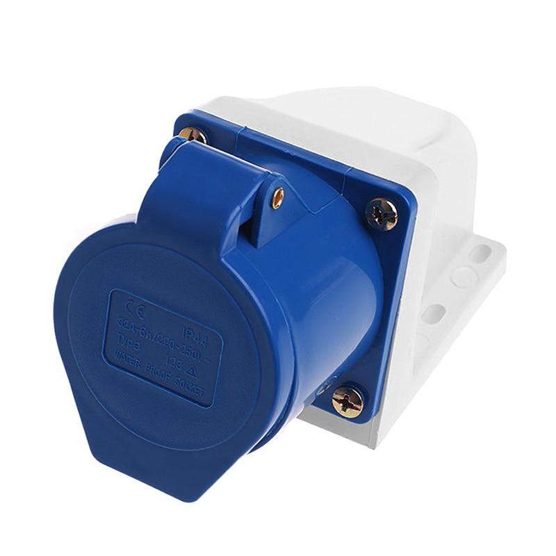 ELEG-32 Amp 3pin Industrial Socket 220V-250Volt Weatherproof Waterproof IP44 2P+E 32A