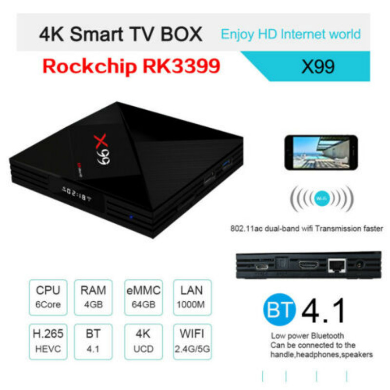 Consumer Electronics Delicious X99 Rk3399 Six Core Android 7.1 Tv Box 4g/32g Hdr10 Dual Wifi 4k 3d Media Bt4.1 Home Audio & Video