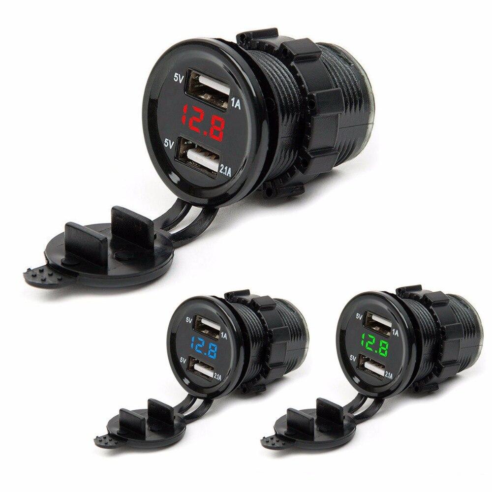 SOONHUA 12V/24 Dual USB Port Car Charger Lighter Socket Plug LED Voltmeter Waterproof For Mobile Phone Tablet GPS Mp3