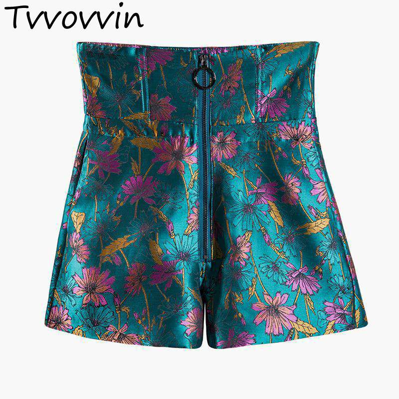 TVVOVVIN Woman High Waist Slim Womens Zipper Embroidered All Match <font><b>Short</b></font> <font><b>Sexy</b></font> <font><b>Shorts</b></font> Summer 2020 Black New AS021 image