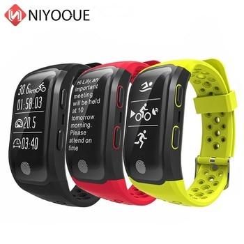 NIYOQUE Bluetooth GPS Tracker Smart Band IP68 Wasserdichte Smart Armband Schrittzähler Herz Rate Fitness Outdoor Sport Armband