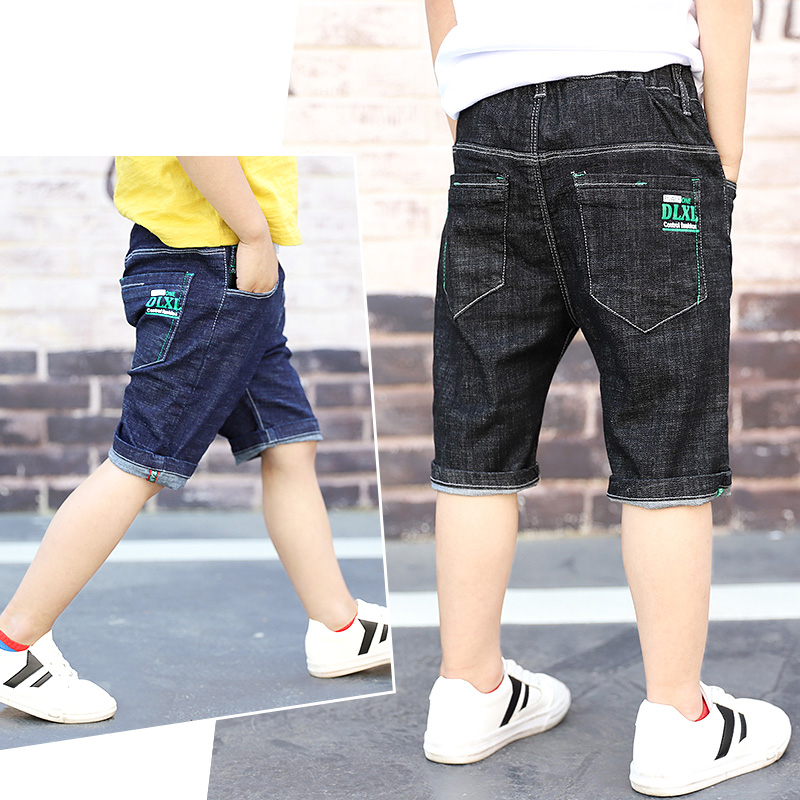 Teenager Kids Boys Denim   Shorts   4Y-16Y Summer Letter Printed Children Boys Casual Pants Soft Cotton Jeans   Short   Straight Pants
