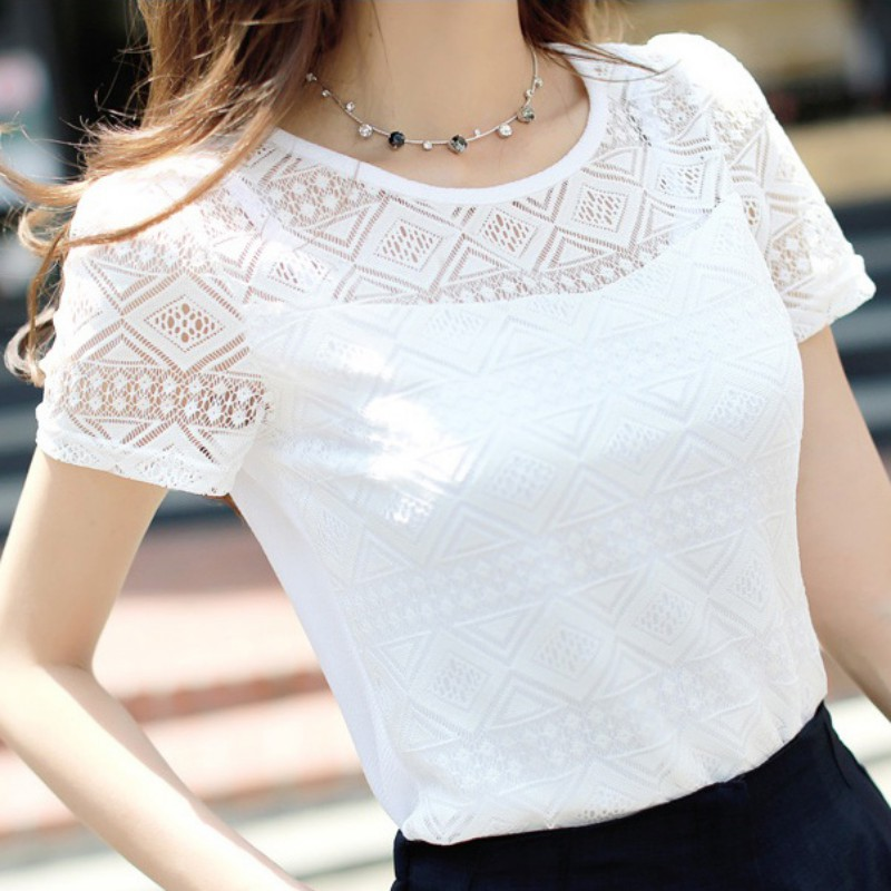 Elegant Lace Blouse Women's Shirt Femme Chiffon Shirts Tops Summer 2019 Short Sleeve O Neck Blusas Feminina Hollow Out Blouses(China)