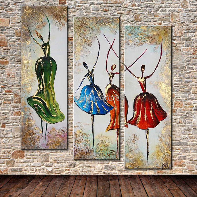 Handmade Modern Abstract Dancing Ballet Girls Oil Painting Large Group Art African Woman Wall Pictures Painting