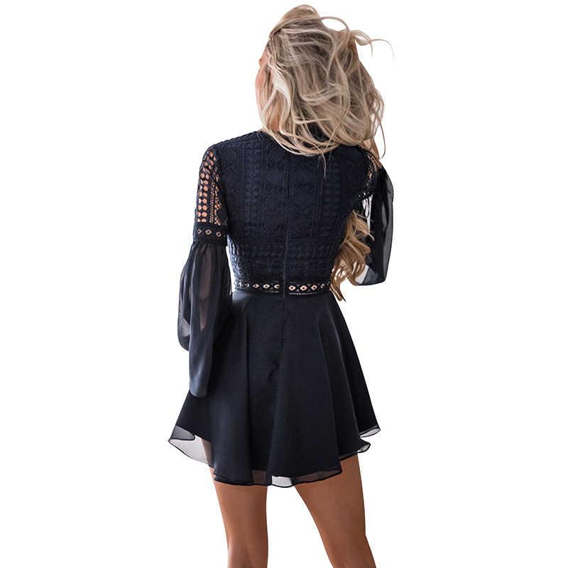 Сексуальное женское мини платье крест-накрест Бандажное кружевное полупрозрачное Открытое платье с глубоким вырезом с длинным рукавом черное/белое шифоновое платье