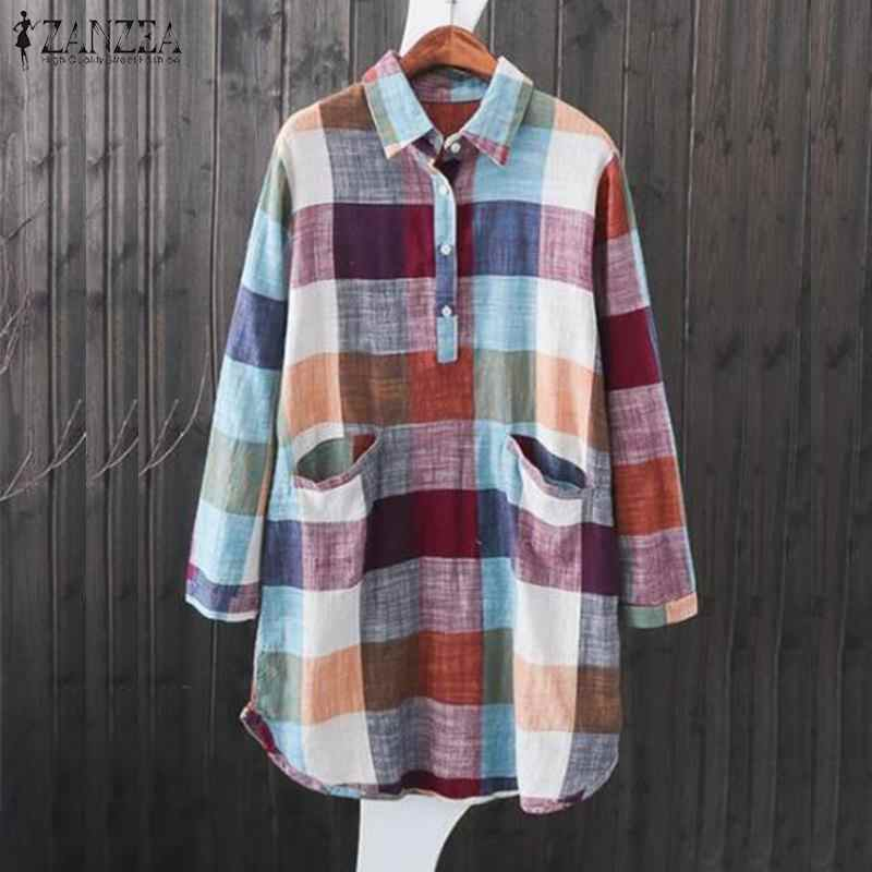 6fc01e7beae836 ZANZEA Vintage Women Lapel Neck Long Sleeve Blouse Spring Plaid Checked  Chemise Top Casual Work Shirt