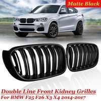 For BMW F25 F26 X3 X4 1 Pair Bumper Gloss Matt Black M Color 2 Line Slat Kidney Grill Front Bumper 2014 15 16 2017 Racing Grill
