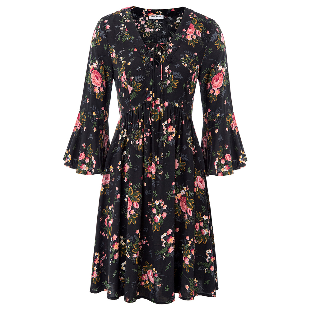 Sexy Women's dresses Summer dress Floral Pattern 3/4 Bell Sleeves V Neck Dress