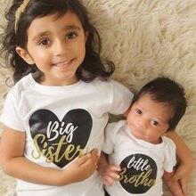 Big Sister Little Brother одинаковые комплекты боди для ребенка мальчика Футболка для девочки детский топ футболка комплект одежды