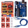Щит с ЧПУ Плата расширения V3.0 + плата UNO R3 + Драйвер шагового двигателя A4988 с радиатором для Arduino наборы K75 (щит с ЧПУ + UNO