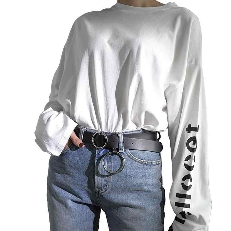 b2d82ab0b90 ... 2019 Newest Triangle Round Buckle Belts Female HOT Leisure Jeans Wild  Belt Metal Buckle Black Strap