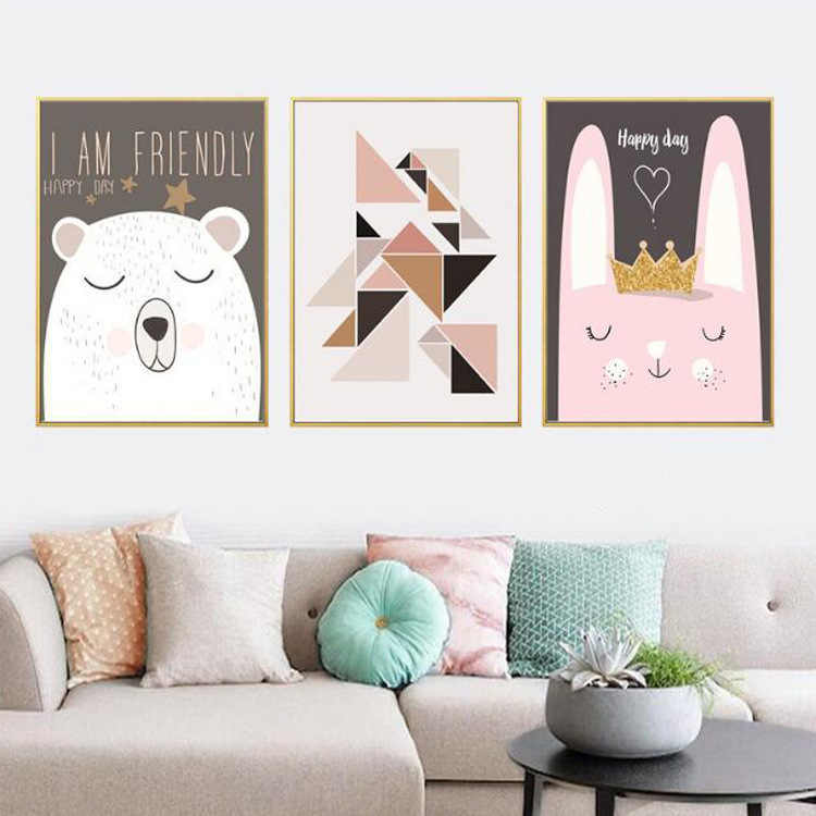 Cartoon Bear Rabbit Animal Posters and Prints Minimalist Wall Art Canvas Painting Nusery Wall Picture Baby Living Room Kids