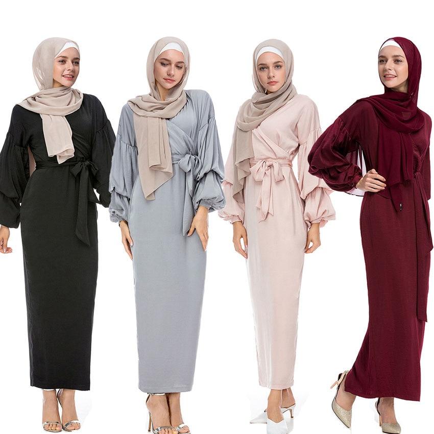 Solid Woman Lantern Sleeve V-neck Muslim Abaya Dress Solid Islamic Ramadan Outfits Lady Long Dress with Belt Eid Mubarak