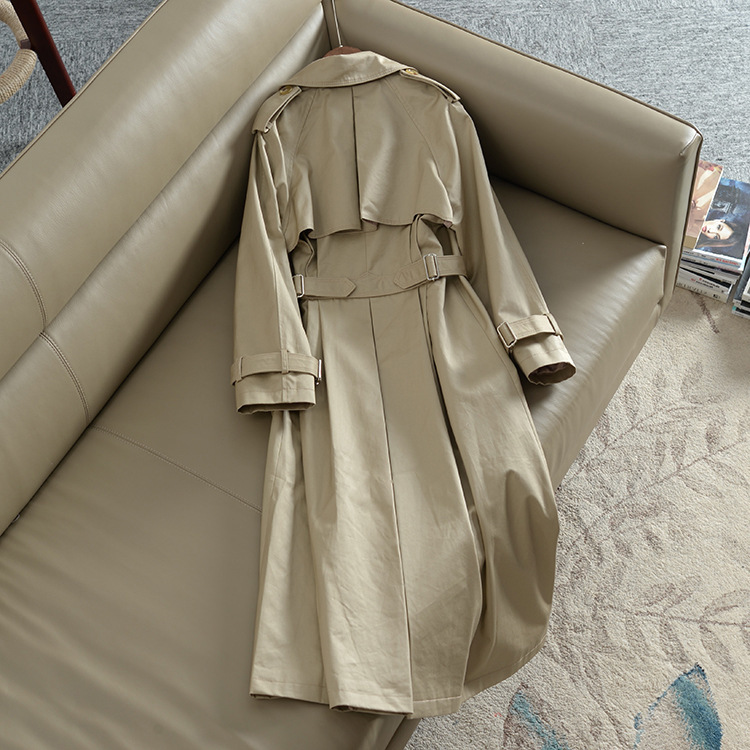 Khaki Double-breasted Trench Coat Women Autumn British Lapel Long Windbreaker Clothes Femme Loose Cloak Dust Coat Spring Outwear