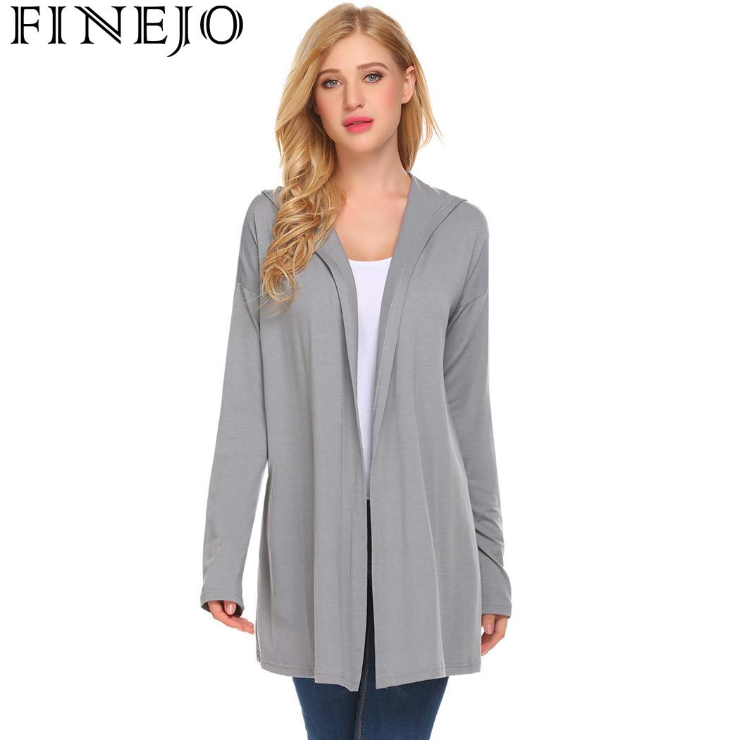 Women Drop-Shoulder Open Front Solid Casual Loose Fit Hooded Cardigan