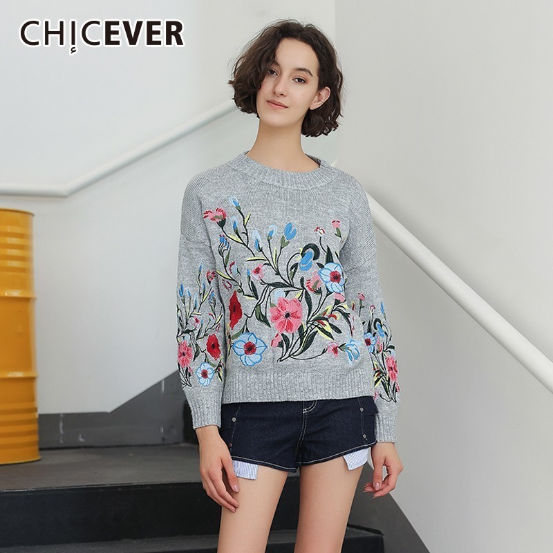 CHICEVER Flower Embroidery Sweater CMY12966