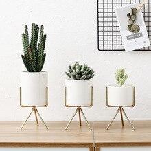 Комплект из 3 предметов Керамика цветочные горшки с железная полка вазон для суккулентов декоративный цветок для дома ваза без отверстия