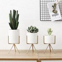3pcs Set Ceramic Flower Planters with Iron Shelf Succulent Plant Pot Home Decorative Flower Vase without Hole