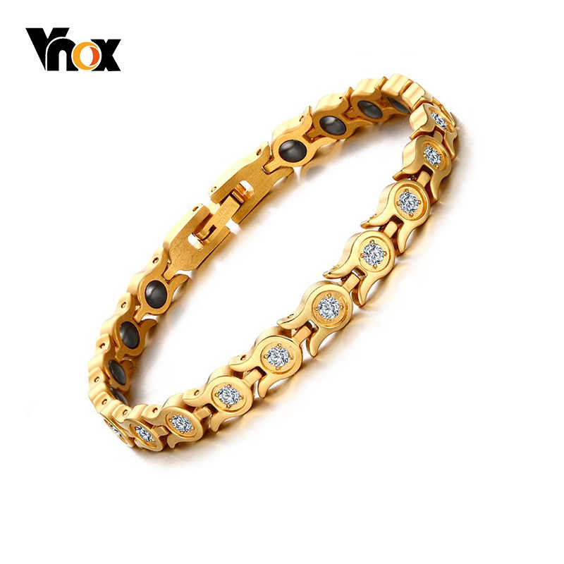 Vnox Bling Cubic Zirconia Woman Bracelet Health Bio Energy Magnetic Gold Tone Adjustable