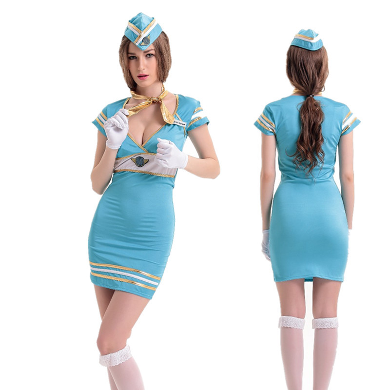 Japanese Student Flight Attendant Uniform Women Sexy Tight Dress Navy Plays Clothing  Halloween Party Cosplay Costume