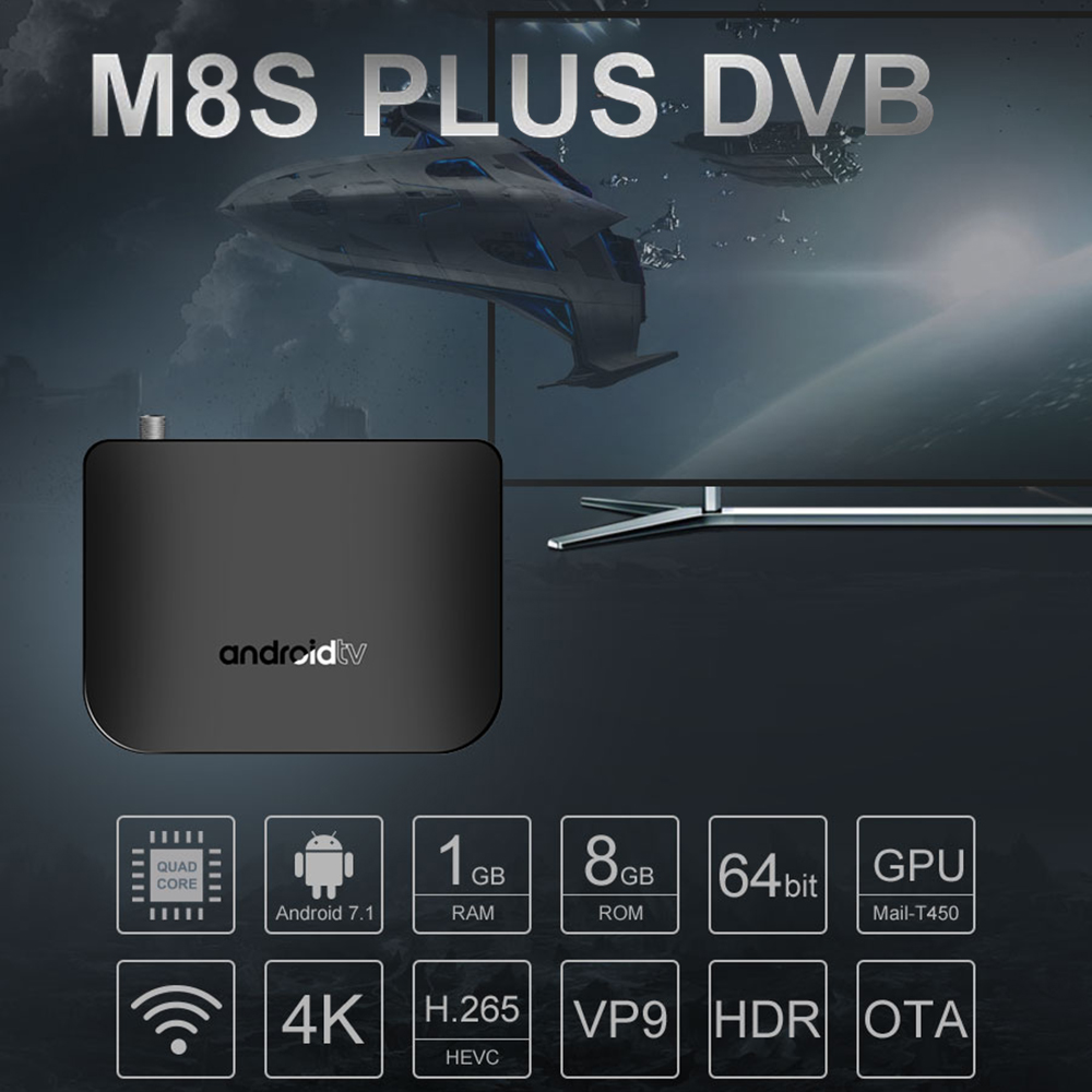 MECOOL M8S PLUS 1GB 8GB 4K WiFi LAN HD Smart TV box DVB Android TV BOX