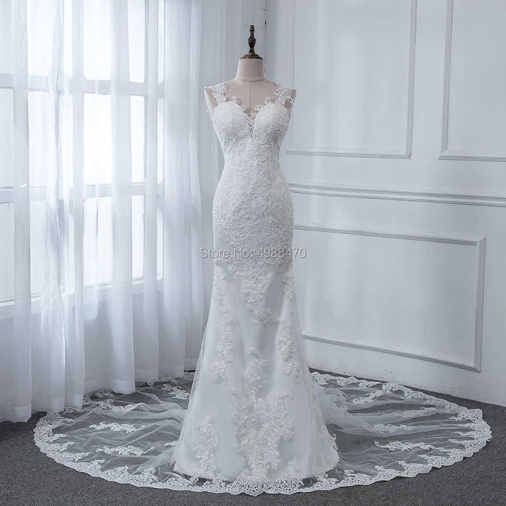Robe De mariée Русалка Свадебные платья Свадебное платье без рукавов свадебное платье индивидуальный заказ рыбы аппликации свадебное платье в стиле бохо Vestidos Novia