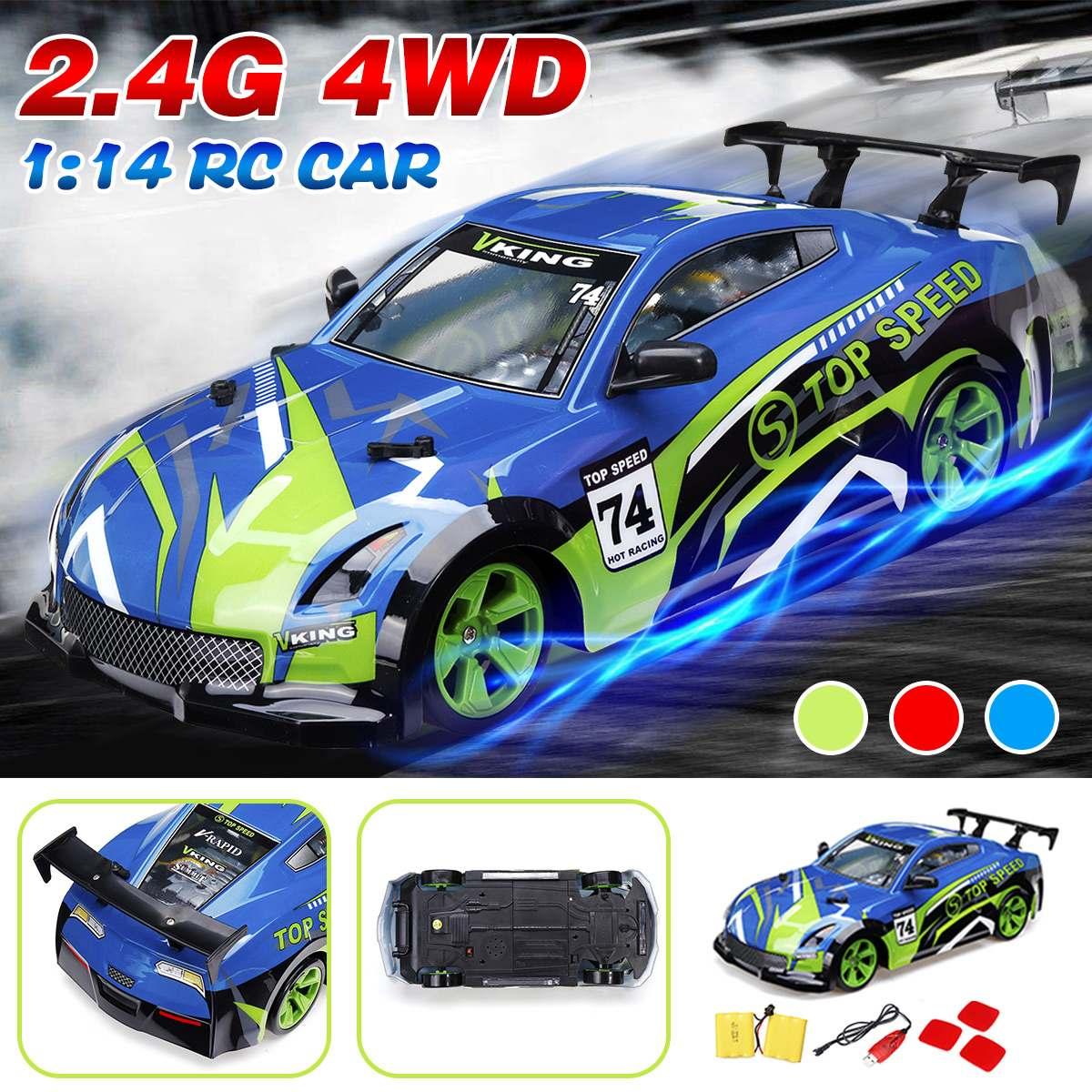 1/14 4WD RC camion 2.4G haute vitesse tout-terrain dérive voiture de course chenille enfants jouet rouge vert bleu Suspension antichoc grand roulement