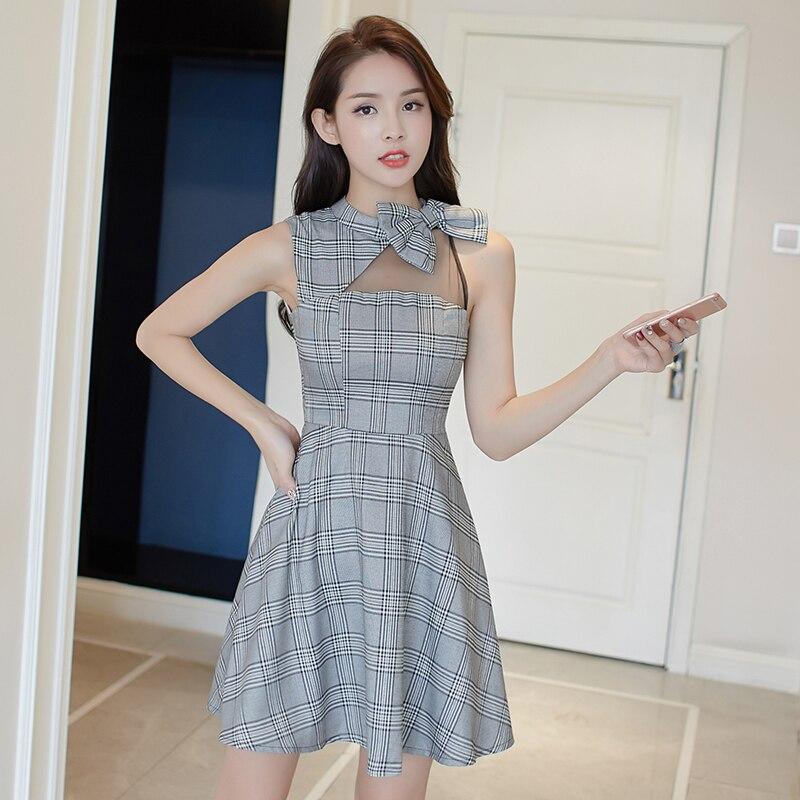 Debowa Plaid adolescente robe femmes 2018 nouvelles robes d'été sans manches o-cou moulante femmes robe belle a-ligne Net robe de fil