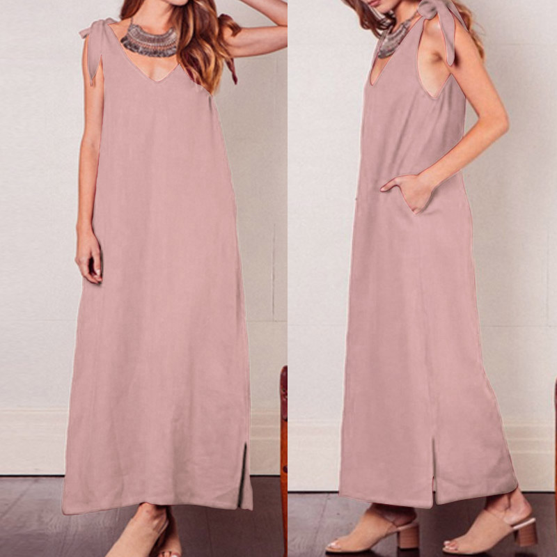 Celmia Summer Beach Women's Dress Casual Sleeveless Loose Maxi Dress Robe Sexy Strap Party Vestido Femme 2019 Plus Size Sundress