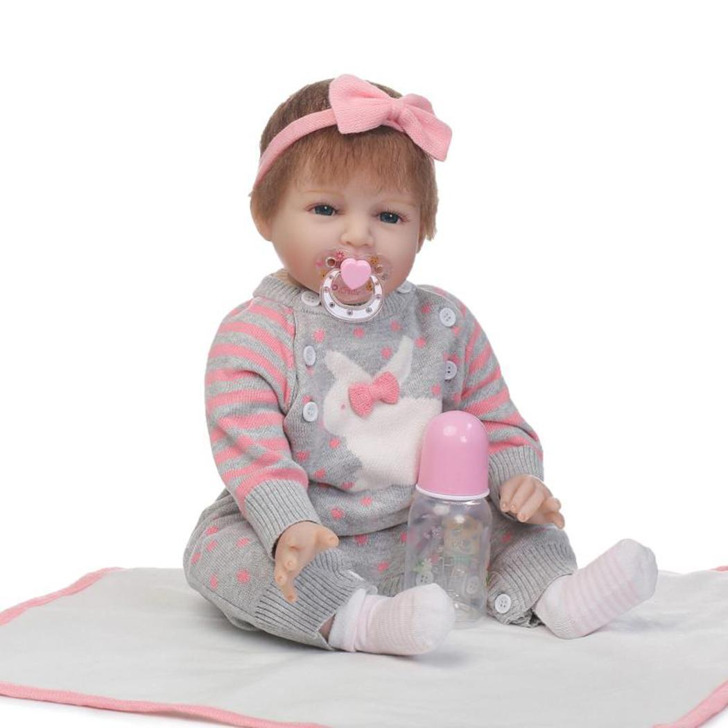 Kids Soft Silicone Realistic With Clothes Collectibles, Gift, Playmate Reborn Pink Gray 2-4Years Baby Doll