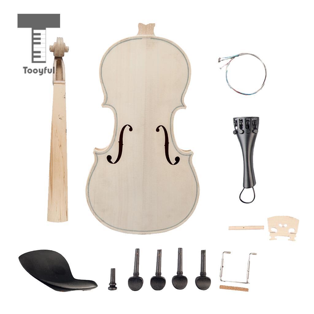 Tooyful 1 2 Violin Chin Rest Tailpiece Peg Endpin String Bridge DIY Violin Body Part