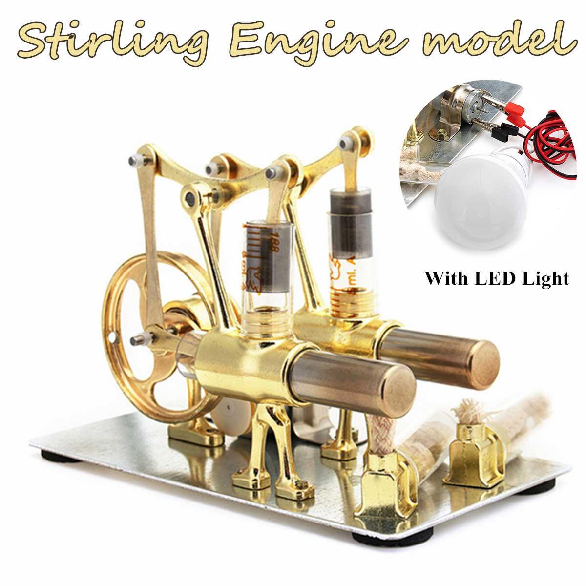 Mini moteur Stirling chaleur vapeur éducation Double cylindre moteur modèle scientifique puissance génération jouet expérimental