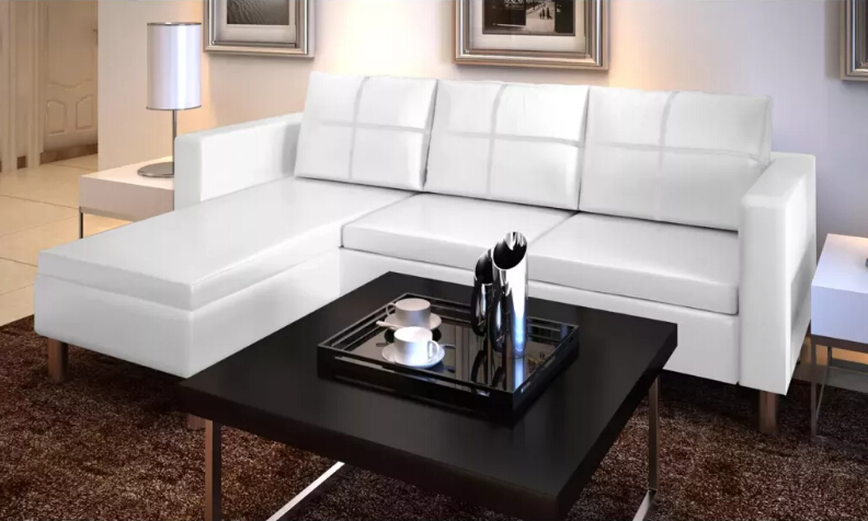 VidaXL Sectional 3 Seater Sofa Synthetic Leather White Includes 1 L-Shaped Sofa, 3 Pillows And 3 Cushions 241980VidaXL Sectional 3 Seater Sofa Synthetic Leather White Includes 1 L-Shaped Sofa, 3 Pillows And 3 Cushions 241980