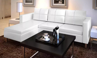VidaXL Sectional 3 Seater Sofa Synthetic Leather White Includes 1 L Shaped Sofa 3 Pillows And 3 Cushions