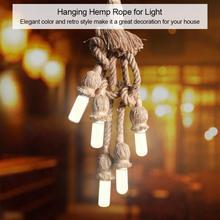 5 Head Vintage Hanging Lamp Holder Hemp Rope Lamp Base Bulbe Holder for Light Retro Lamp Ceiling Pendant E27 Base цены