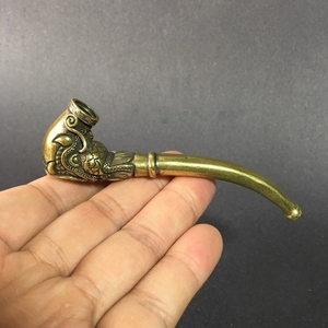 Image 5 - Collectable Chinese Brass Carved Dragon Head Pipe Dragon Phoenix Pipe Tobacco Pouch  Exquisite Small Statues