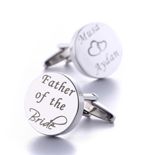 Gemelos de boda personalizados, redondos de plata, regalos de boda para novio, logotipo letras grabadas, palabras, joyas Gemelos