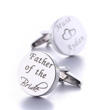 Kişiselleştirilmiş Düğün Kol Düğmeleri Gümüş Yuvarlak Özel Kol Düğmesi Düğün Hediyeleri Damat için Kazınmış LOGO Mektuplar Kelimeler Gemelos Takı