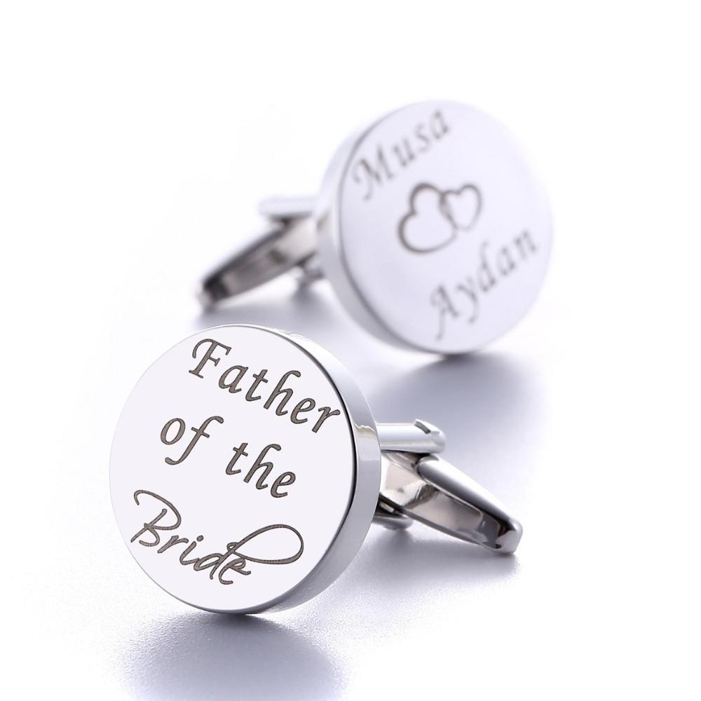 Personalized Wedding Cufflinks Silver Round Custom Cufflink Wedding Gifts For Groom Engraved LOGO Letters Words Gemelos Jewelry