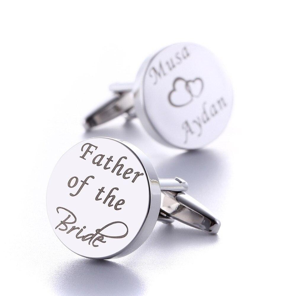 Personalized Wedding Cufflinks Silver Round Custom