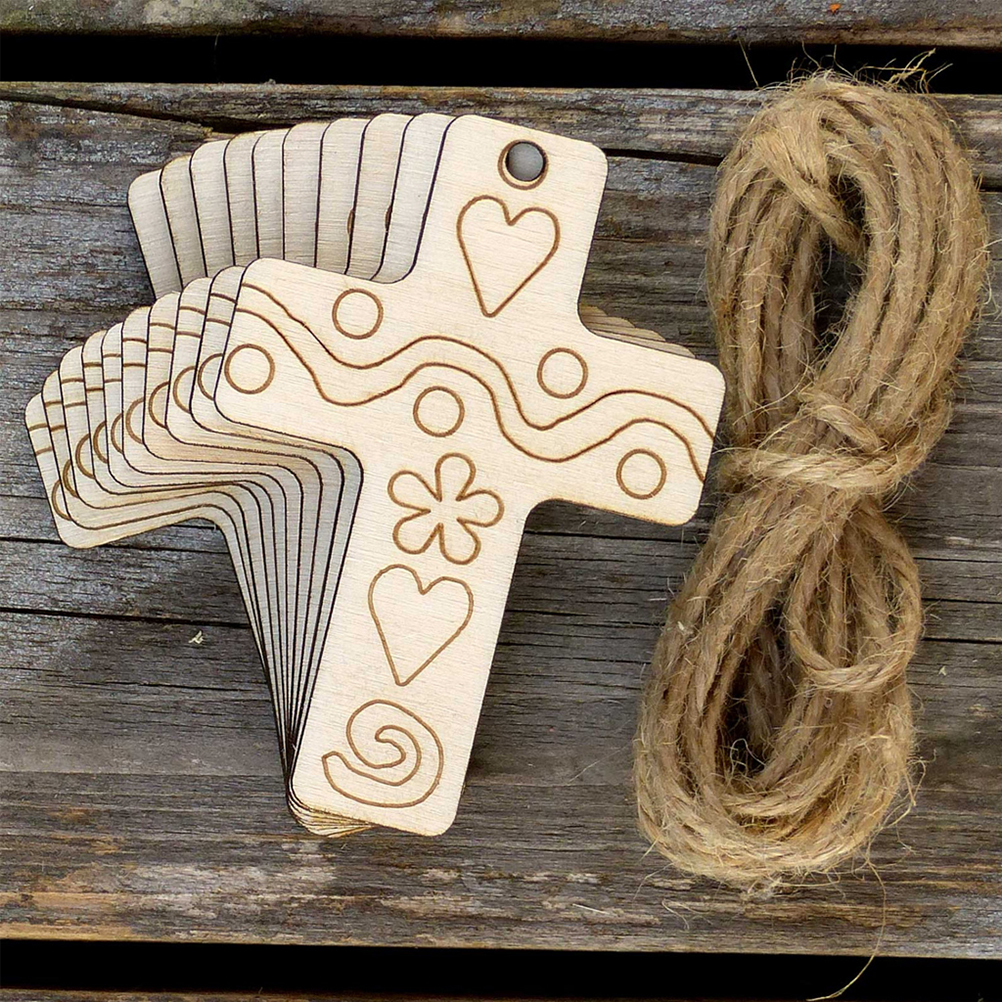 10pcs Unfinished Wooden Cross Embellishments Wood Craft Hanging Decor Embellishments