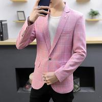 Men's Blazers And Suit Jackets Fashion Lattice Swallowtail Dress Blazer Man Wedding Suits for men Black Pink Blue